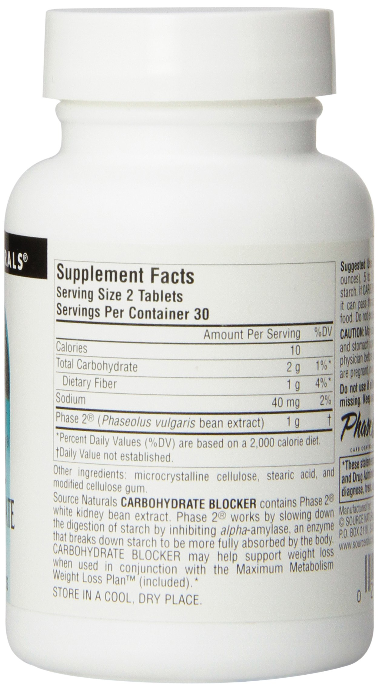 SOURCE NATURALS Phase 2 Carbohydrate Blocker 500 Mg Tablet, 60 Count by Source Naturals