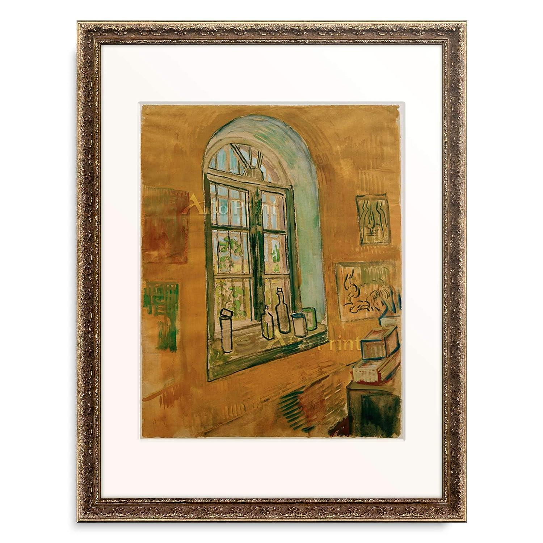フィンセントファンゴッホ Vincent Willem van Gogh 「Window in the Studio」 額装アート作品 B07PD9X7ZC 09.装飾額 19mm(黒金) XL(額内寸 727mm×545mm) XL(額内寸 727mm×545mm)|09.装飾額 19mm(黒金)