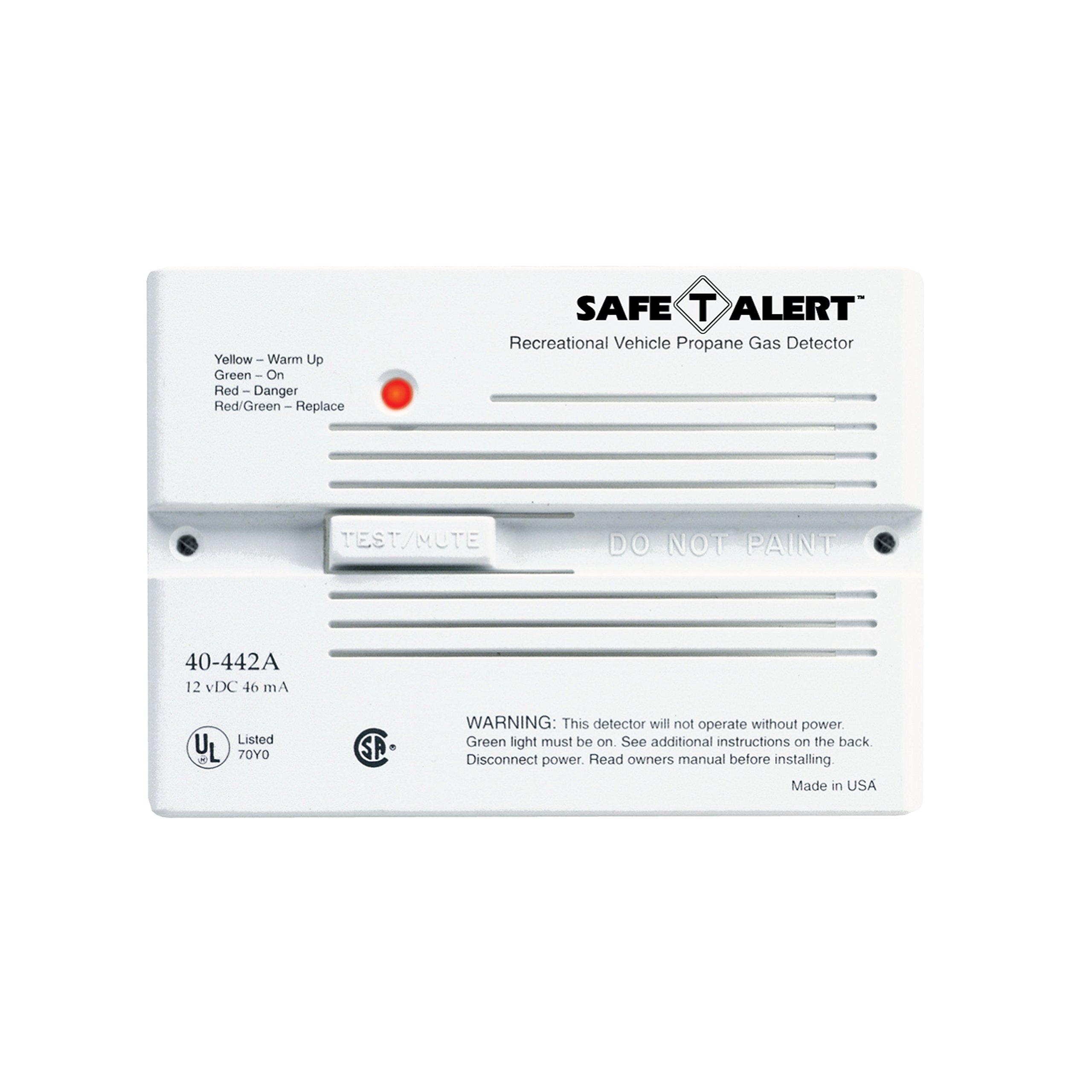 MTI Industries 40-442-P-WT Safe T Alert 40 Series Professional Propane/LP Gas Alarm - Flush Mount, White