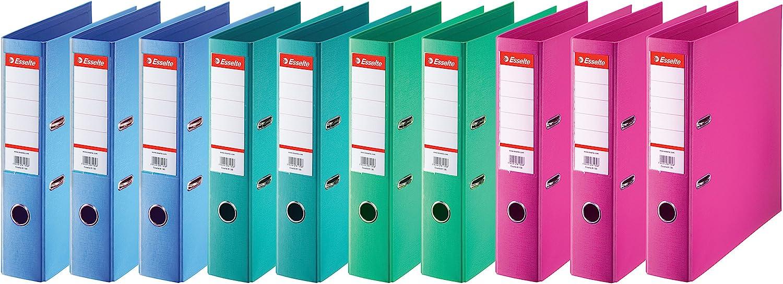 Esselte 624178 - Archivadores de anillas (lomo estándar de 75 mm, 10 unidades), diferentes colores