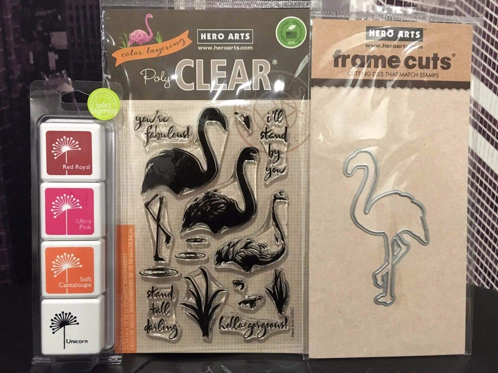 ShopForAllYou Stamping & Embossing Flamingo Clear Stamps + Coordinating Frame Dies + Mini Ink Pad Set