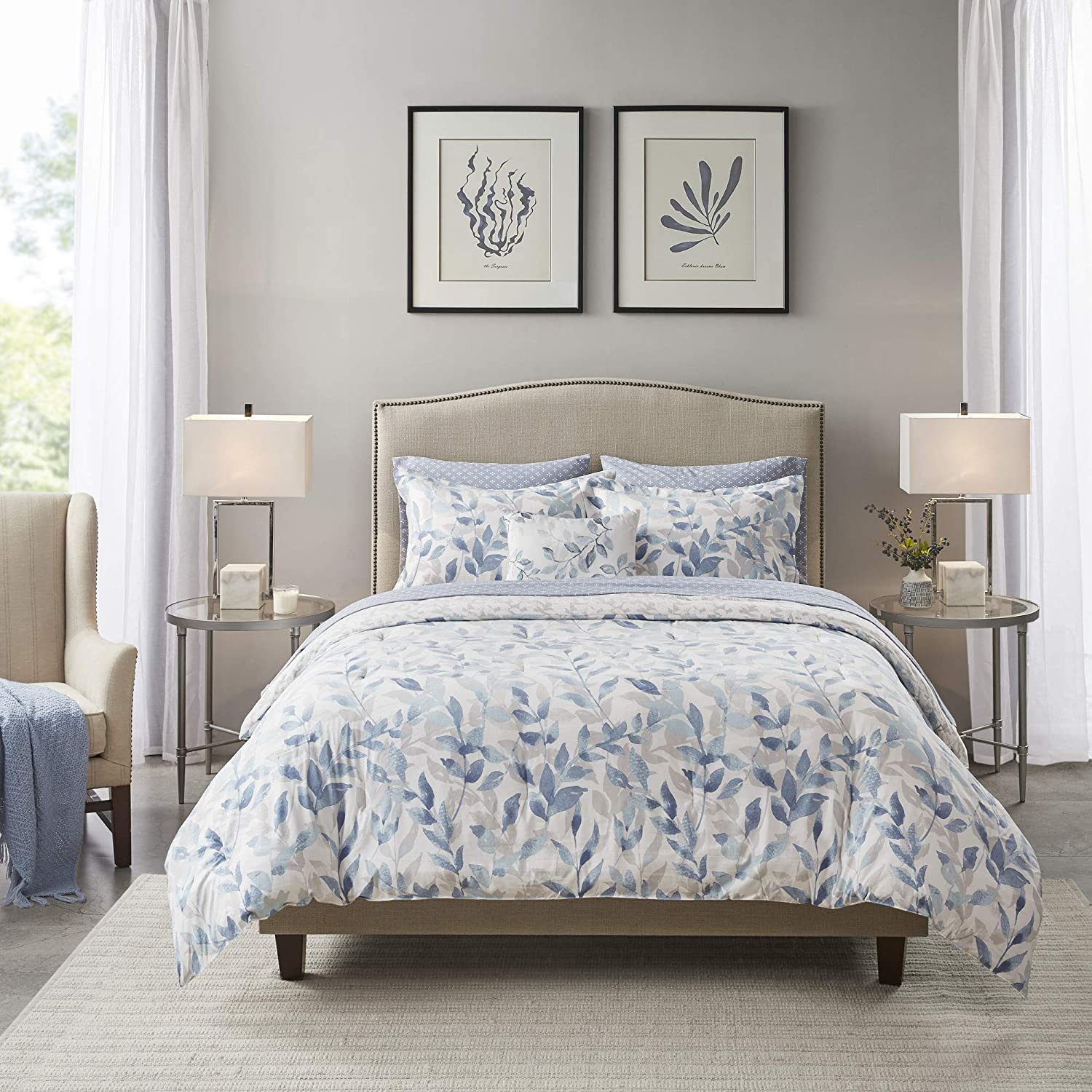 Madison Park Essentials Sofia Bed in a Bag Reversible Comforter with Complete Sheet Set-Modern Botanical Print All Season Cover, Shams, Cal King(104