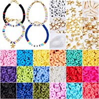 3800 Pcs Flat Round Polymer Clay Spacer Beads for Jewelry Making Bracelets Necklace Earring DIY Craft Kit with Pendant…