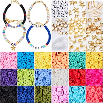 3800 Pcs Flat Round Polymer Clay Spacer Beads for Jewelry Making Bracelets Necklace Earring DIY Craft Kit with Pendant and Jump Rings - Creat 20-40 Pack Bracelets (6mm 18 Colors Beads)