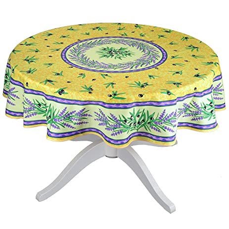 Matisse Yellow 63u0026quot; Round French Provencal Tablecloth