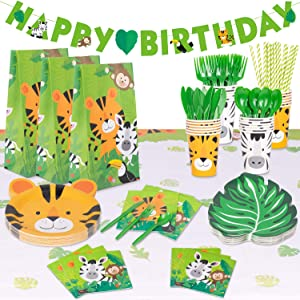 Decorlife Jungle Theme Party Supplies for 24, Safari Birthday Decorations for Wild One, Boy Baby Shower, Jungle Animals Party Plates and Napkins, Cups, 54