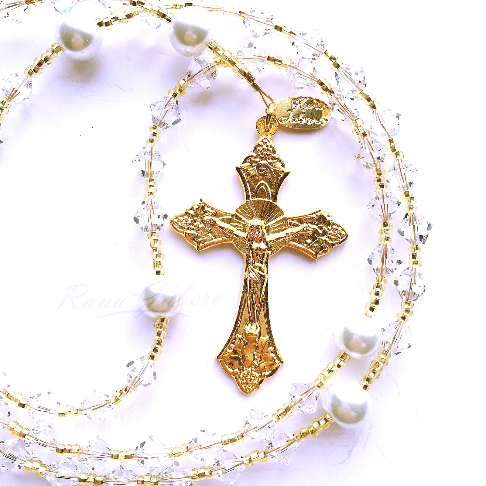 Rana Jabero Gold Plated Crystal Clear (April Birthstone) Swarovski Crystal and Glass Pearl Rosary