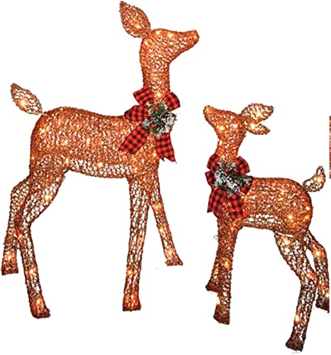Pre-lit Glittering Champagne 38 Inch Doe and 28 Inch Fawn – 2-Piece Christmas Deer Set – 105 Clear Lights