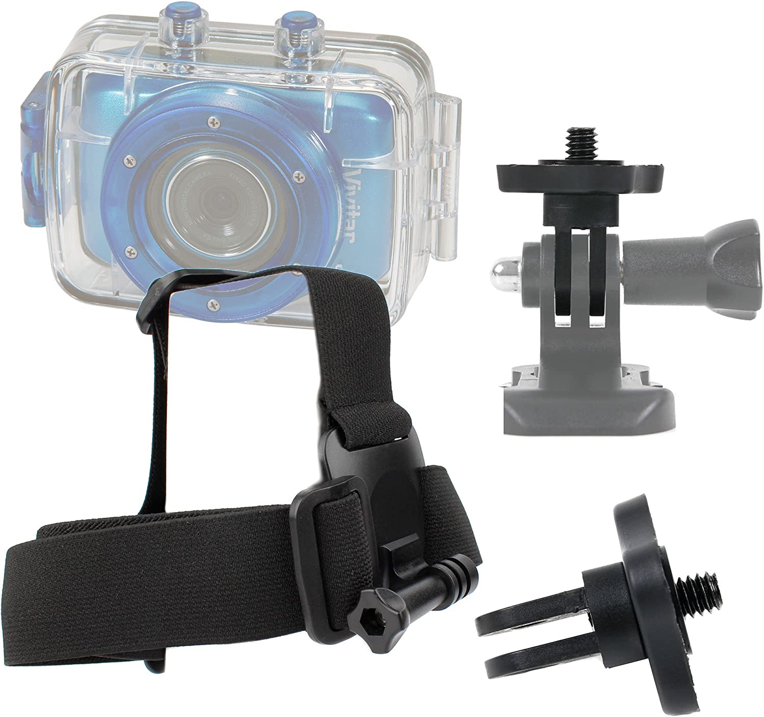 DURAGADGET Action Camera Helmet Mount Compatible with Vivitar DVR785HD-BLU 5MP /& DVR995WHD-GRP-IT