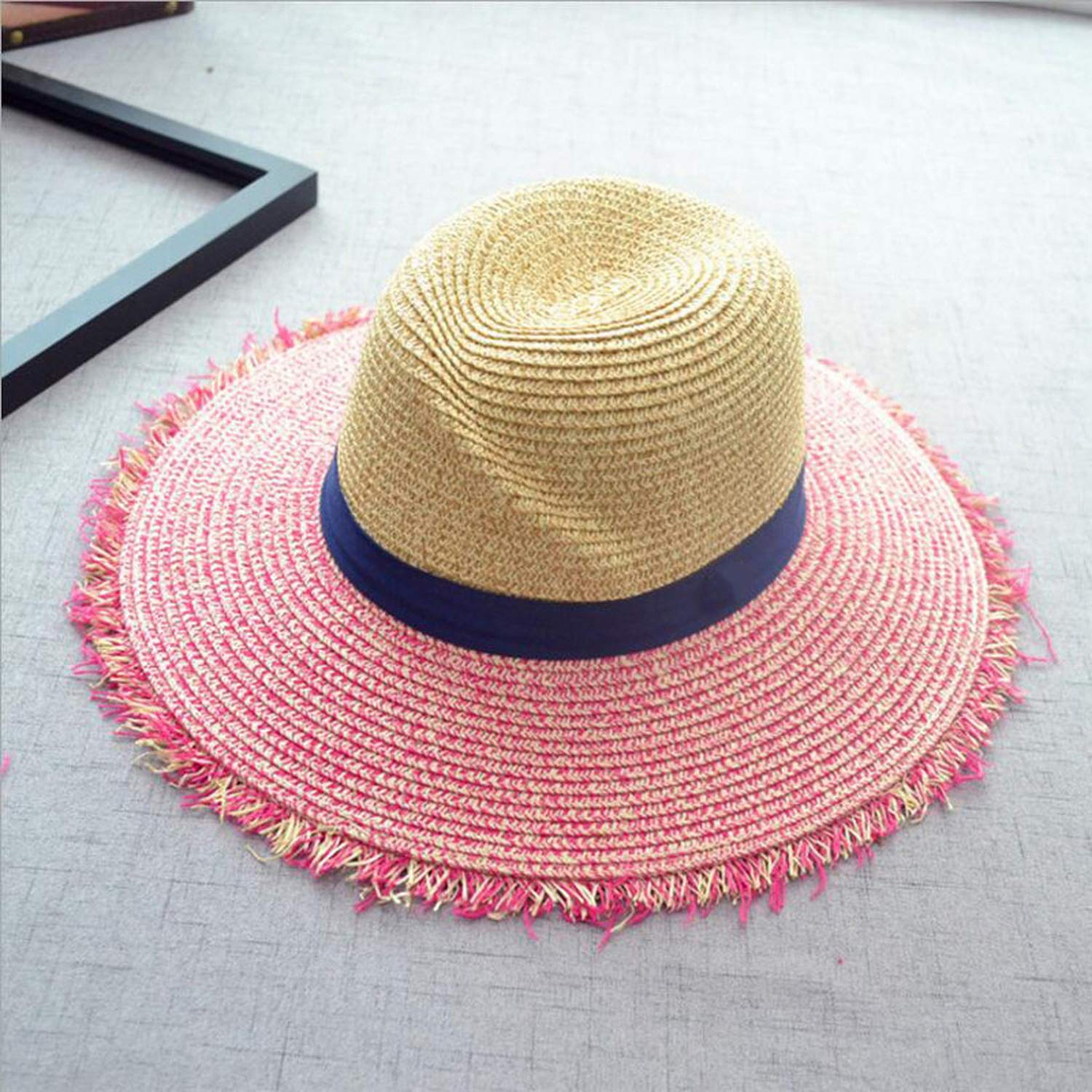 Straw Hat Summer Letter Hats for Women Sun Shade Tourism Boater Hat,Beige