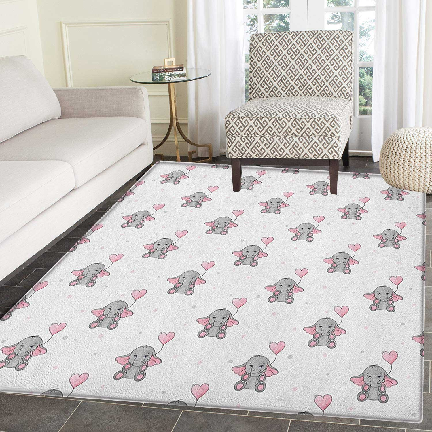 Rug on carpet nursery Contemporary Elephant Nursery Area Rug Carpet Elephants Holding Heart Shaped Pink Balloons Girlish Design Living Dining Room Bedroom Hallway Office Carpet 5x6 Grey Amazoncom Amazoncom Elephant Nursery Area Rug Carpet Elephants Holding Heart