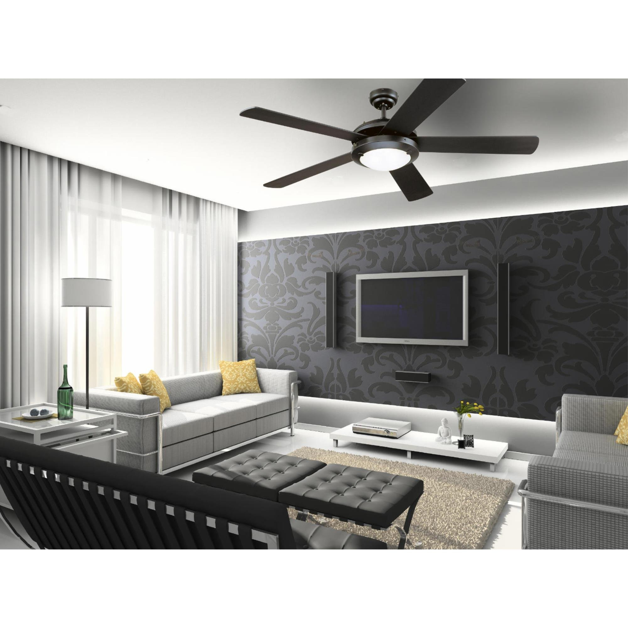 Westinghouse Lighting 7801665 Comet 52-Inch Matte Black Indoor Ceiling Fan, Light Kit with Frosted Glass by Westinghouse Lighting (Image #3)