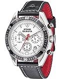 Detomaso Genova - Reloj de cuarzo para hombres, con correa de cuero de color negro, esfera plateada