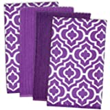 "DII Microfiber Multi-Purpose Cleaning Towels Perfect for Kitchens, Dishes, Car, Dusting, Drying Rags, 16 x 19"", Set of 4 - Eggplant Lattice"