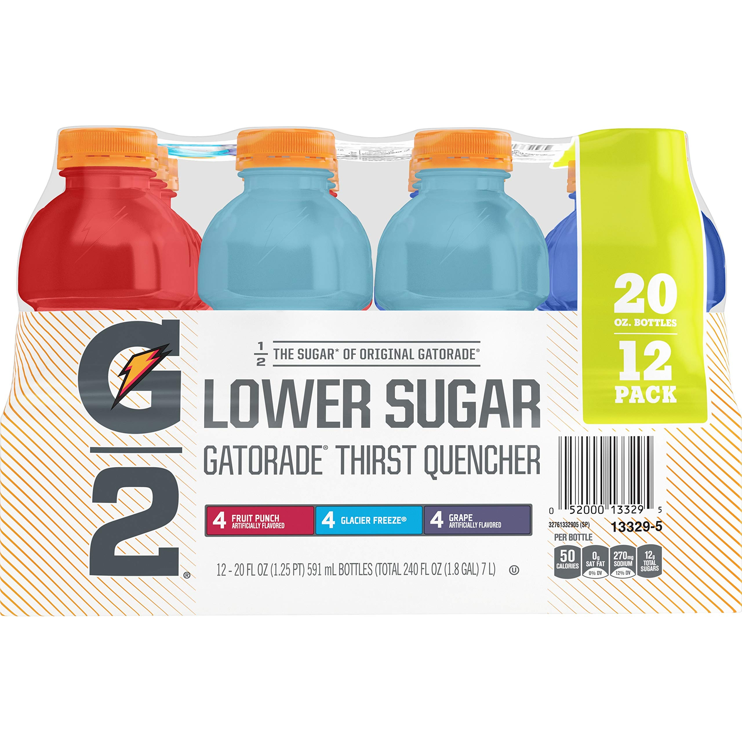 Gatorade G2 Thirst Quencher Variety Pack, 20 Ounce Bottles (Pack of 12)