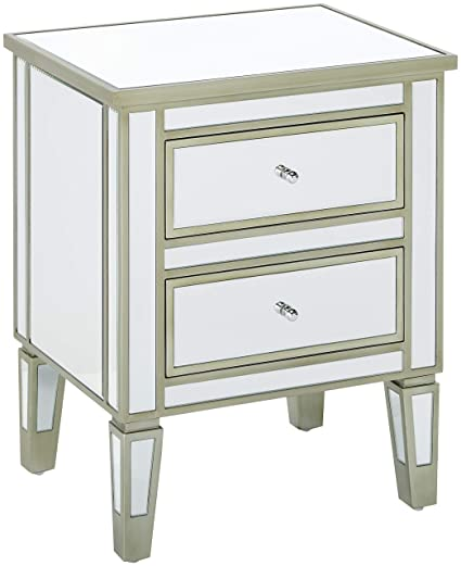 0ff1cf91faab Amazon.com: Christopher Knight Home 296718 Graham Nightstand Accent End  Table with 2 Drawers for Living Rooms and Bedrooms, Mirror: Kitchen & Dining