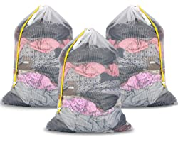 """Plusmart Mesh Laundry Bags with Drawstring, 24"""" x 36"""" Extra Large Laundry Bags with Staps, for Travel, College Dorm, Apartmen"""