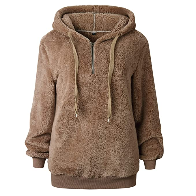 MYSHOW Mujer Señoras Teddy Fleece Hoodie Locker Oversize Fleece Sudadera Jersey Prendas de Abrigo Sudadera con Capucha: Amazon.es: Ropa y accesorios