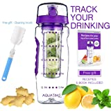 Time Marked Fruit Infuser Water Bottle AQUATIME Large 32 oz – Free Brush for Easy Clean – Convenient to Carry - Leak Proof - FDA Approval BPA free & Eco – Friendly Tritan copolyester Plastic - Purple