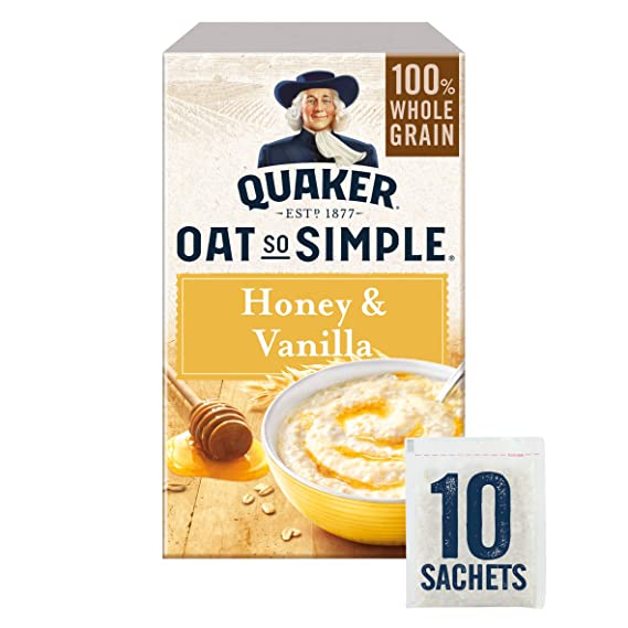 Quaker Oats tan simple miel y vainilla Gachas 10 x 33g