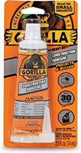 Gorilla Heavy Duty Construction Adhesive, 2.5 ounce Squeeze Tube, White, (Pack of 1)