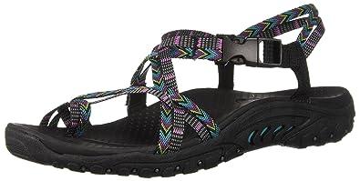 13c03eca425d Skechers Womens 40980 Reggae-Islander - Multi-Strap Toe Thong Slingback  Sandal Black Size