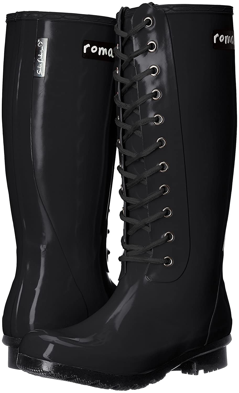 Roma Boots Women's OPINCA Lace-up Rain Boots B01L2WNK4W 5 B(M) US Matte Black