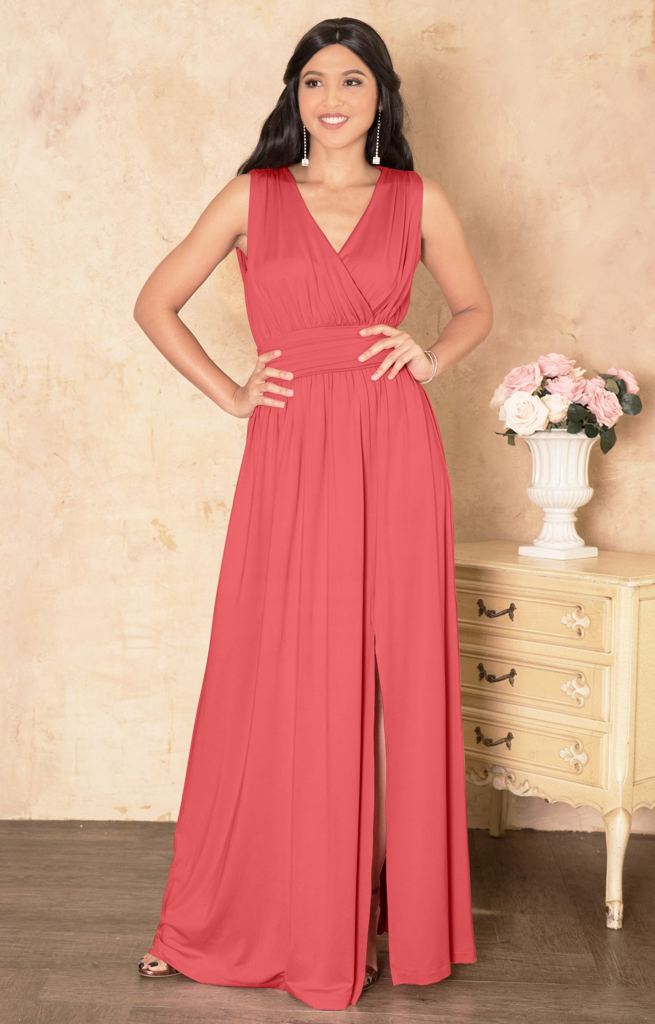 62cce47085 KOH KOH Petite Womens Long Bridesmaid Wedding Guest Cocktail Party Sexy  Sleeveless Summer V-Neck Evening Slit Day Full Floor Length Gown Gowns Maxi  ...