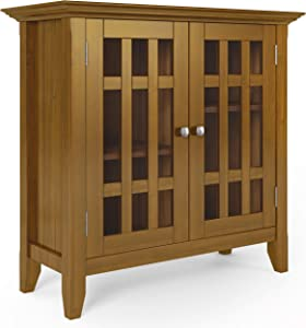 SIMPLIHOME Bedford SOLID WOOD 32 inch Wide Rustic Low Storage Media Cabinet in Light Golden Brown, with 2 Tempered Glass Doors, 2 Adjustable Shelves