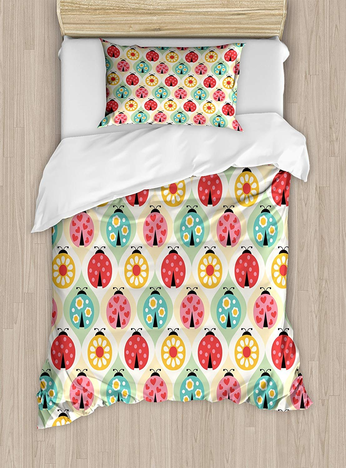 Twin XL Extra Long Bedding Set,Kids Duvet Cover Set,Ladybugs Cartoon Pattern with Retro Polka Dots Daisy Blossoms and Little Hearts Love,Cosy House Collection 4 Piece Bedding Setss