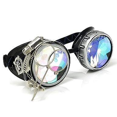 d5de3ff61ae Amazon.com  Steampunk Goggles Rave Glasses with Compass Design ...