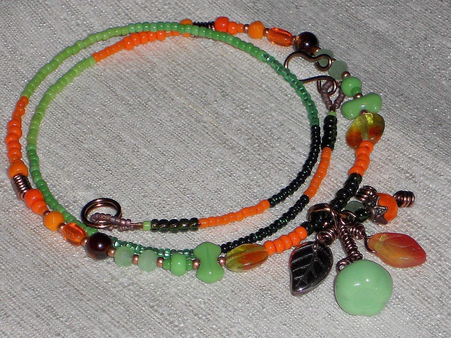 Apple Green Pumpkin Pendant Seed Bead Necklace or Wrap Bracelet