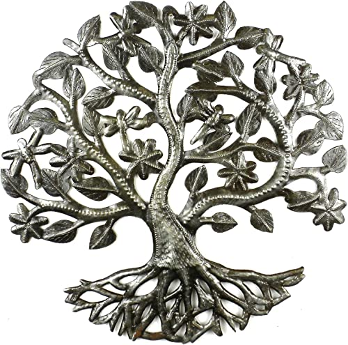 Global Crafts 14 Recycled Handmade Haitian Metal Wall Art Tree of Life Dragonfly