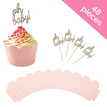 Baby Shower Cupcake Toppers And Wrapper 48 Piece Set Oh Baby