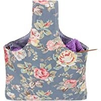 Teamoy Knitting Tote Bag, Travel Canvas Project Wrist Bag for Knitting Needles, Yarn and Crochet Supplies, Lightweight, Multipurpose, Perfect Size for Knitting on The Go (Large, Peony)