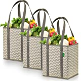 Reusable Grocery Shopping Box Bags (3 Pack - Chevron). Large, Premium Quality Heavy Duty Tote Bag Set with Extra Long…