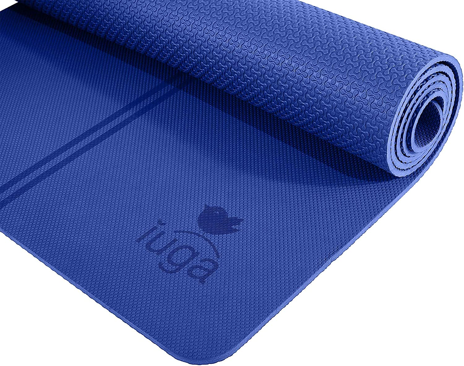 IUGA Eco Friendly Yoga Mat with Alignment Lines, Free Carry Strap, Non Slip TPE Yoga Mat for All Types of Yoga, Extra Large Exercise and Fitness Mat ...