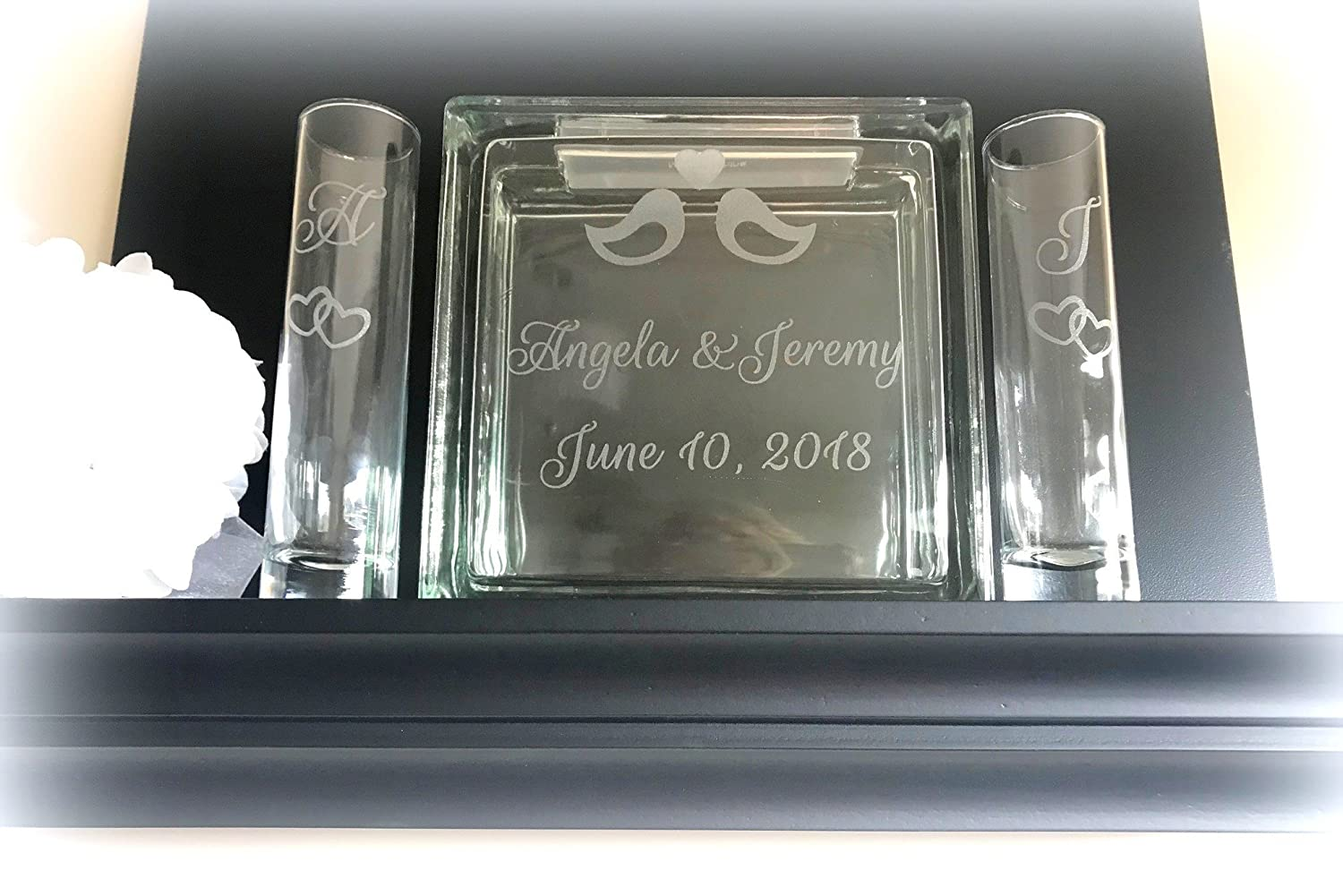 Large Glass Block Laser Engraved Sand Ceremony Unity Set with Crystal Sand