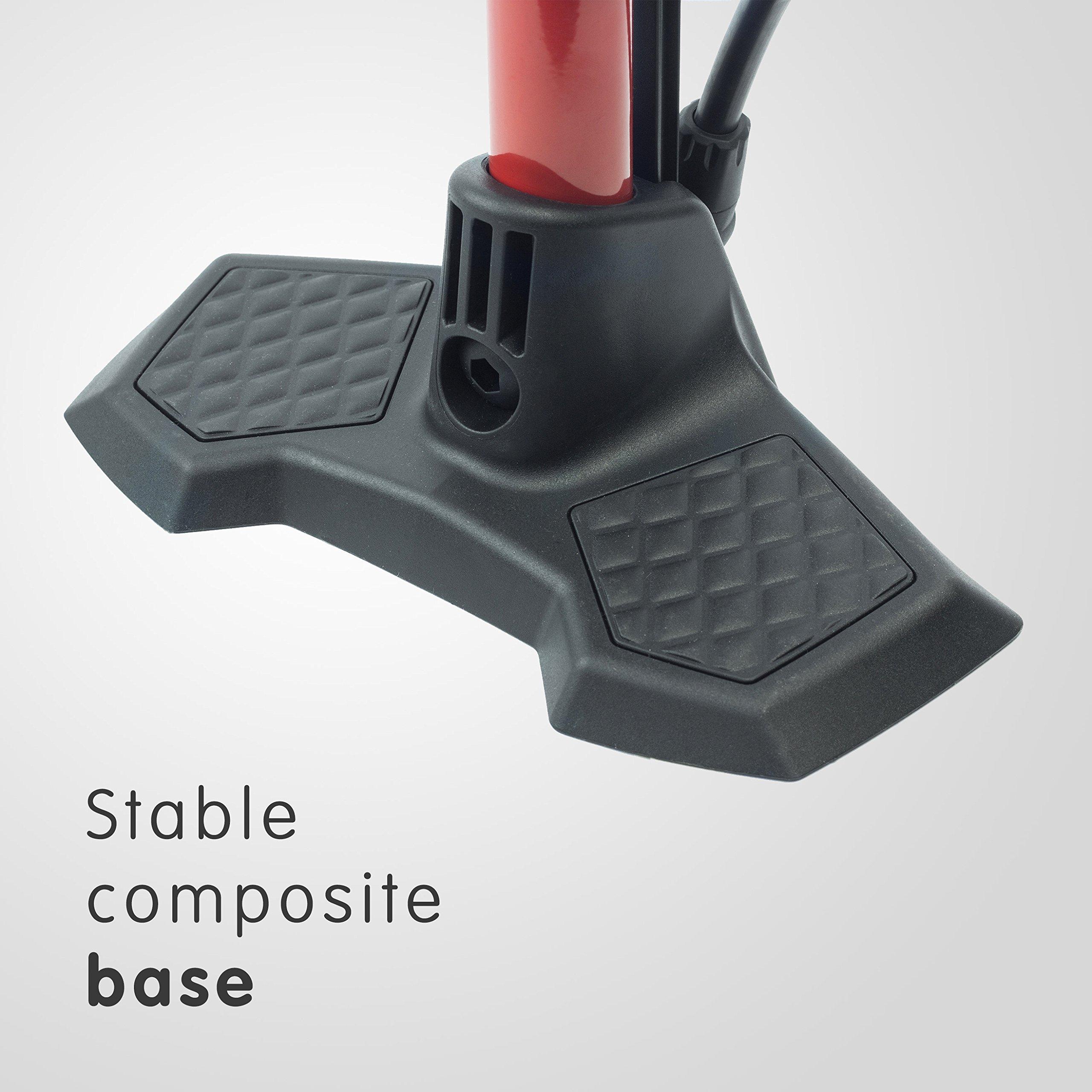 160psi Ball//Bladder Needle Floor Pump with Gauge Auto Presta /& Schrader Ready