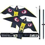 2 x Vogelscheuche Vogelschreck Raubvogel-Drache Habicht mit 1 x hochwertigem 7 Meter Glasfaser-Teleskopstab, Spannweite 1,40 m