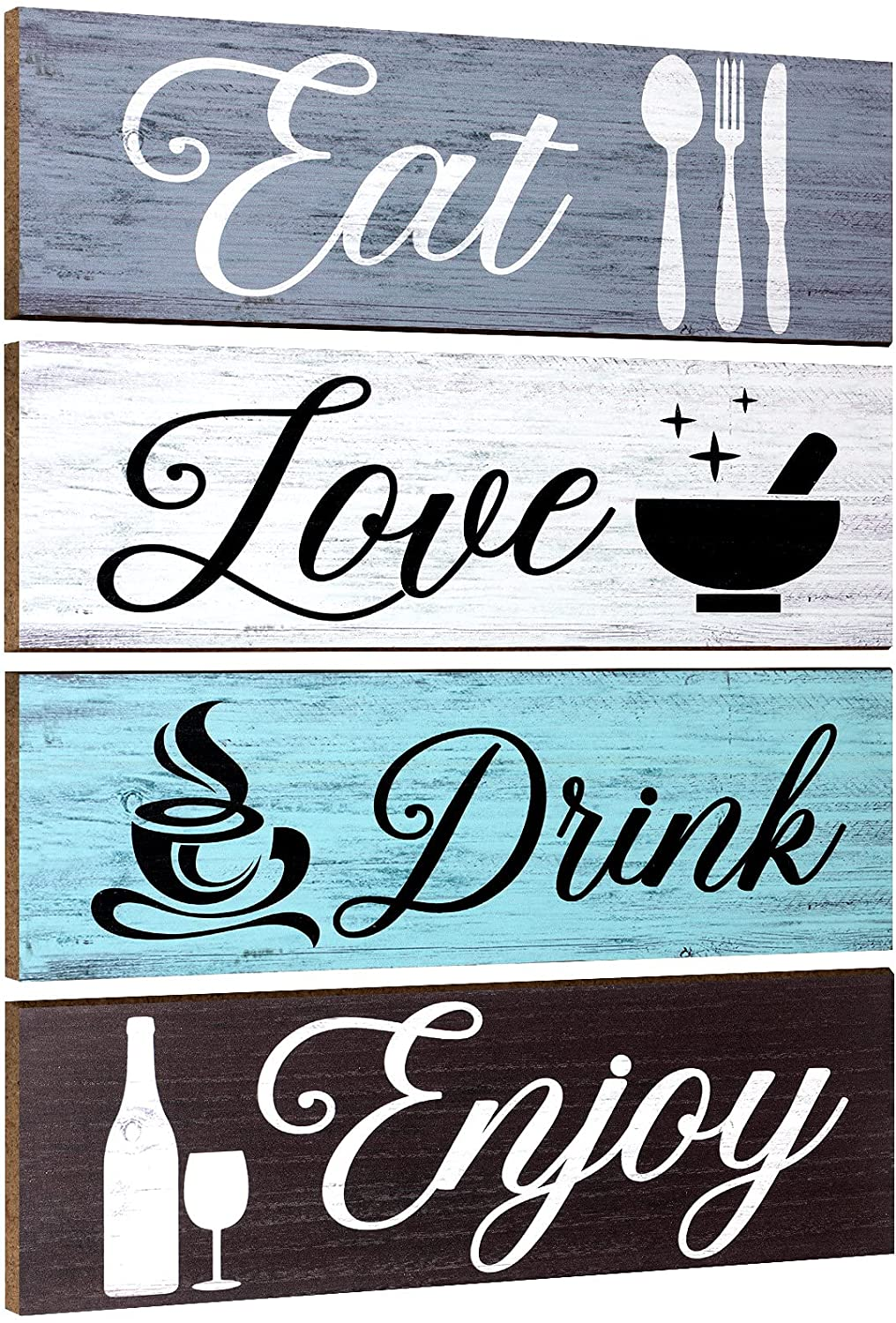 4 Pieces Wood Home Sign Rustic Wooden Kitchen Wall Decor Farmhouse Eat Drink Love Enjoy Wood Sign with Hanging Hole for Home Kitchen Dining Living Room Bar Cafe Decor