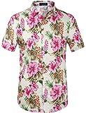SSLR Men's Tropical Button Down Causal Short Sleeve Hawaiian Shirt