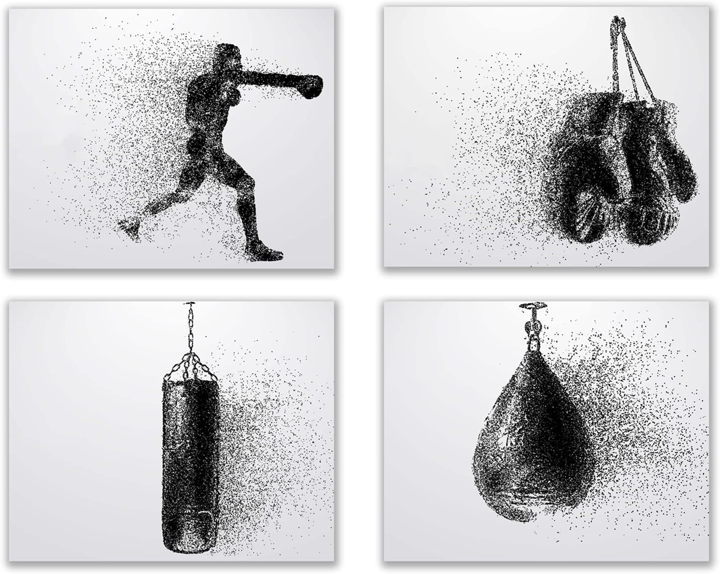 Boxing Wall Art Prints - Silhouette – Set of 4 (8x10) Poster Photos - Bedroom - Man Cave