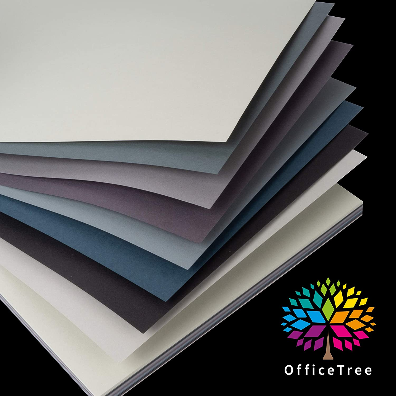 OfficeTree 80 Blatt Bastelpapier Grau T/öne Bastelset Kinder 10 Farben Tonpapier A4 130g//m/² zum Basteln Gestalten