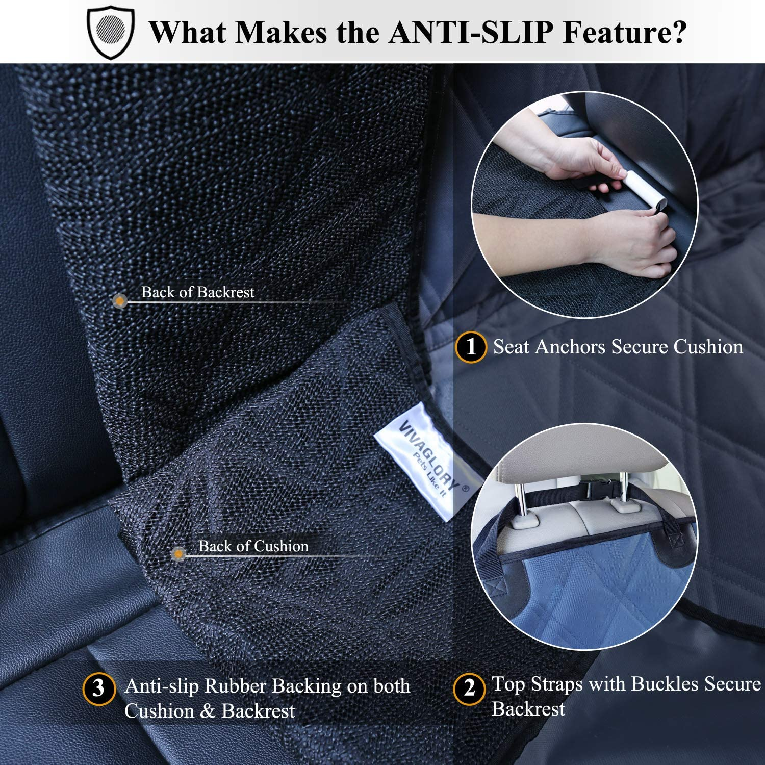 Quilted 600D Oxford Pet Seat Cover with Anti-slip Backing VIVAGLORY Dog Car Seat Covers Convertible Blue No-skirt Hammock Design Protectors for Small /& Large Cars L