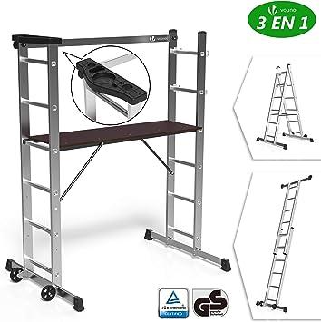 Vount - Escalera de aluminio 3 en 1, estable, multifunción, con plataforma de trabajo: 120 x 40 cm, carga máxima 150 kg, 6 posiciones de andamio móvil sobre ruedas con soporte para herramientas: Amazon.es: Bricolaje y herramientas