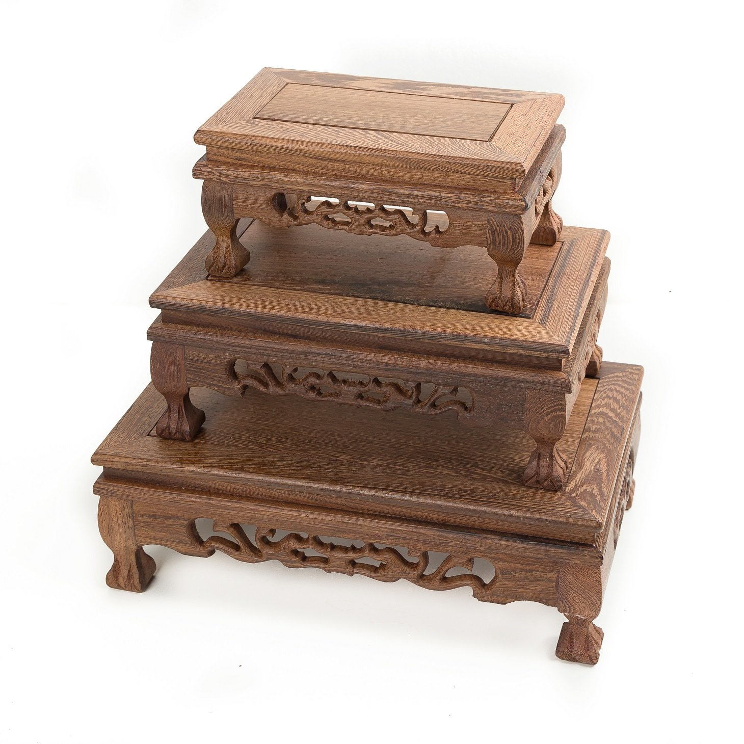LuoLuo Chinese Display Stand Wooden Rectangle Shape Tiger Feet Carved Solid Rosewood JiChi Wood Display Base Holder For Arts Antique Etc, Home Decoration (S 18.5cm11cm9cm) by LuoLuo (Image #7)
