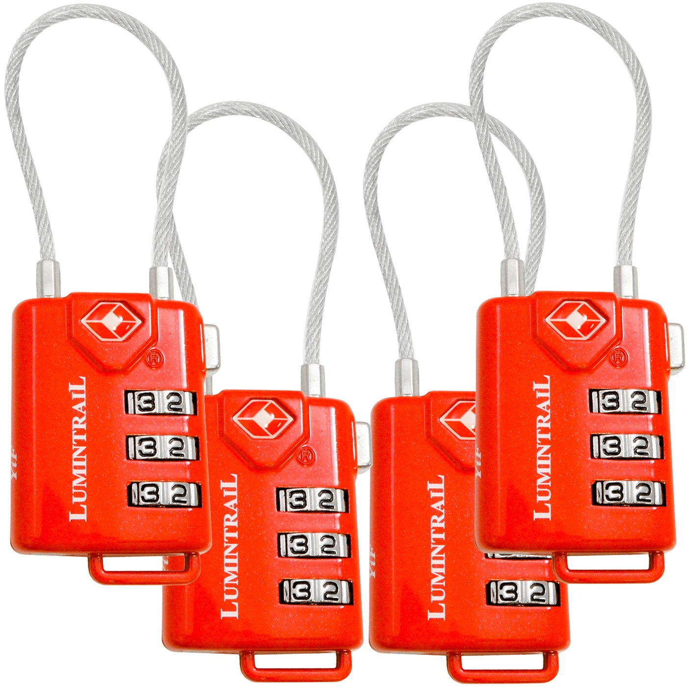 Lumintrail 4 Pack TSA Approved Cable Travel Locks with Personalized Combination LKTSA21105