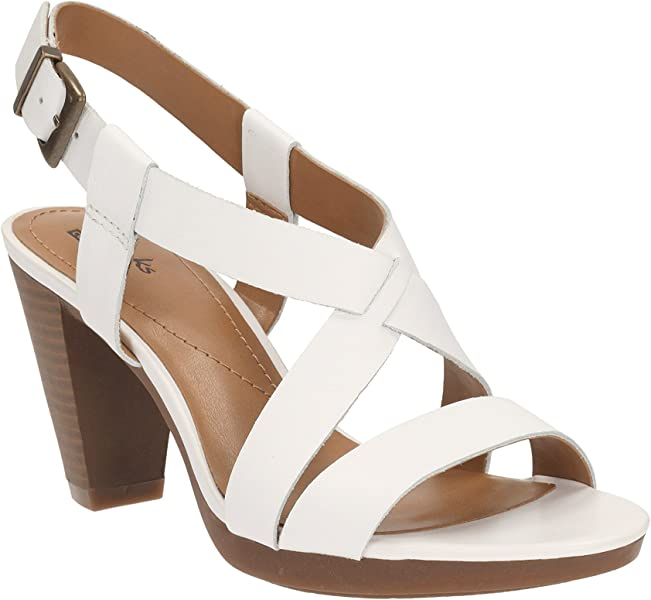 c917cfdd1c2 Clarks Womens Smart Clarks Jaelyn Fog Leather Sandals In White   Amazon.co.uk  Shoes   Bags