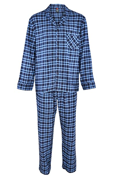 Hanes Mens Flannel Pajamas Set 2 Piece Blue Black Plaid 100/% Cotton Size Medium